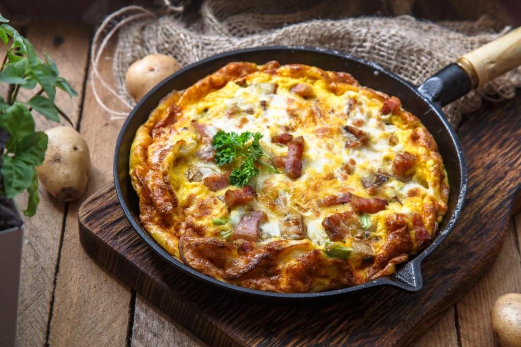 Omelette savoyarde, lard fromage et oignons