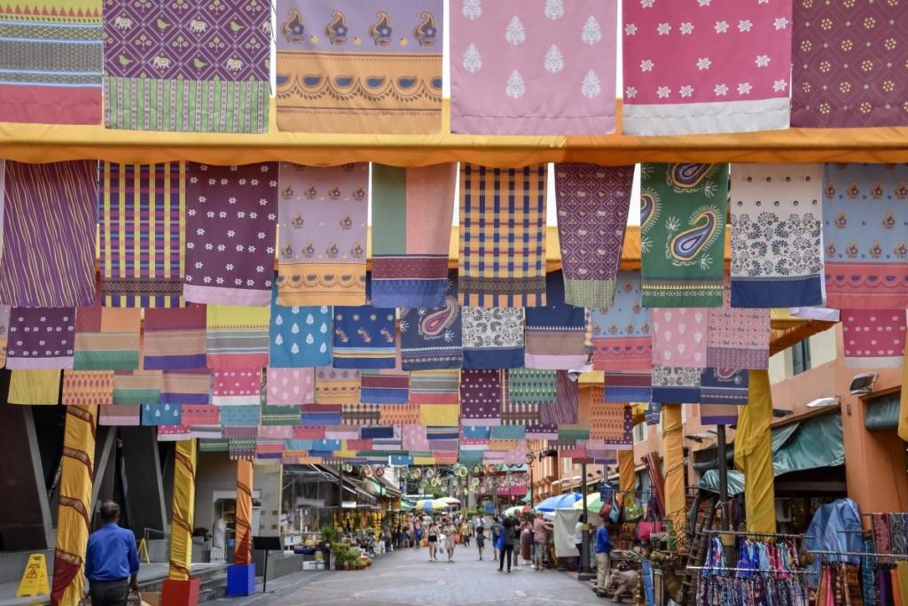 Rue commerçante dans la Petite Inde de Singapour