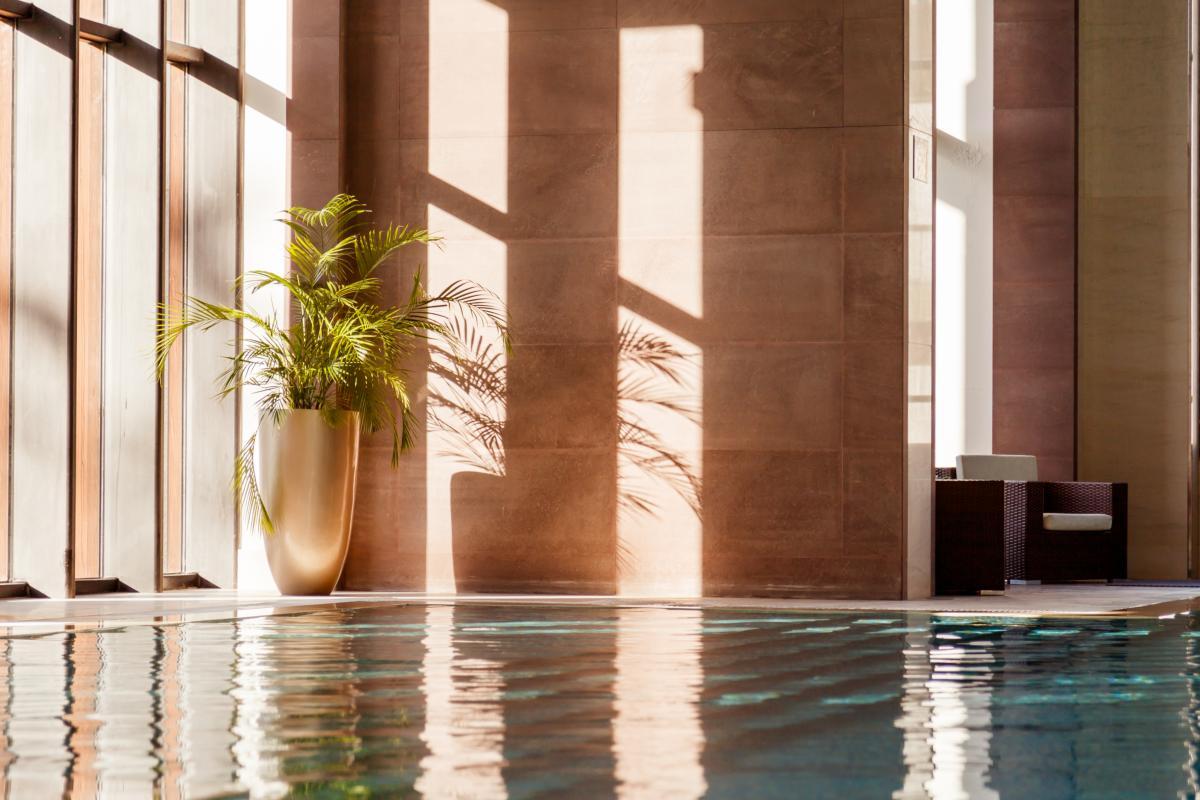 Une piscine de luxe avec un coin lounge