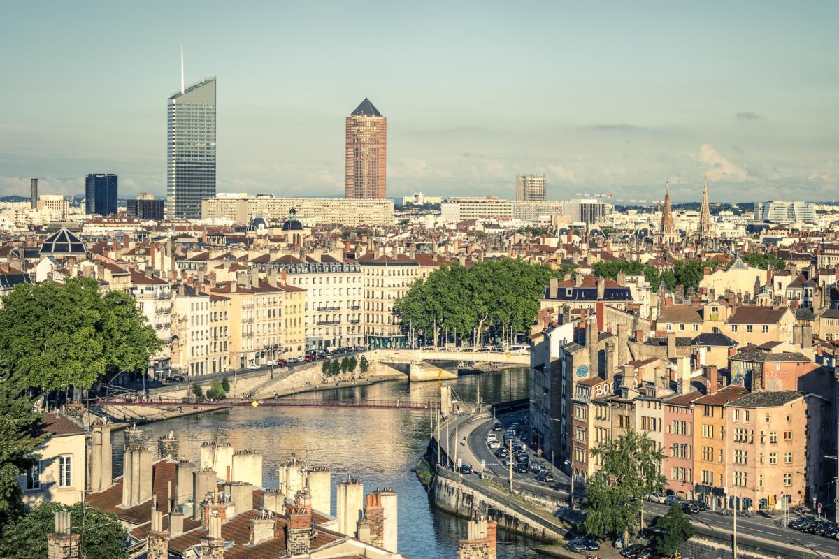 Vue de Lyon avec la Saône